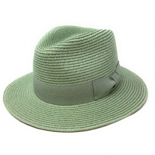Straw Fedora Summer Hat - Pistachio Green